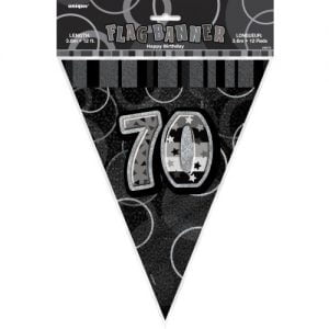 70th Birthday Bunting Flag Banner 3.6m Glitz Black Silver 55319