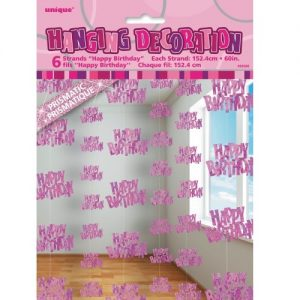 Happy Birthday Hanging Decorations Glitz Pink Silver 55320