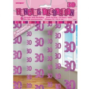 30th Birthday Hanging Decorations Glitz Pink Silver 55324