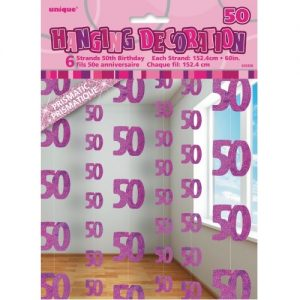 50th Birthday Hanging Decorations Glitz Pink Silver 55326