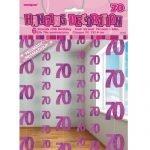 70th Birthday Hanging Decorations Glitz Pink Silver 55329