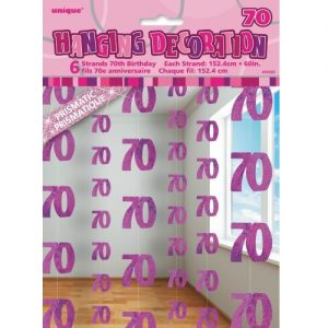 70th Birthday Hanging Decorations Glitz Pink Silver 55329