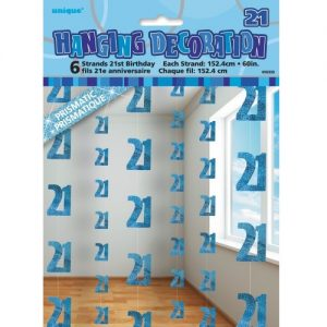 21st Birthday Hanging Decorations Glitz Blue Silver 55333