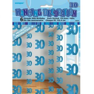 30th Birthday Hanging Decorations Glitz Blue Silver 55334