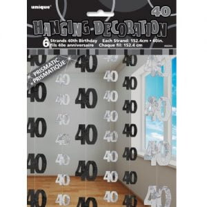 40th Birthday Hanging Decorations Glitz Black Silver 55345