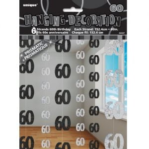 60th Birthday Hanging Decorations Glitz Black Silver 55347