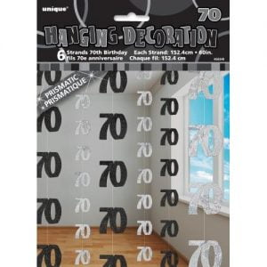 70th Birthday Hanging Decorations Glitz Black Silver 55349