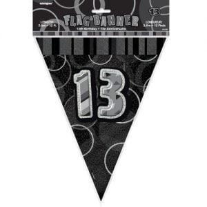 13th Birthday Bunting Flag Banner 3.6m Glitz Black Silver 55358