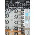80th Birthday Hanging Decorations Glitz Black Silver 55371
