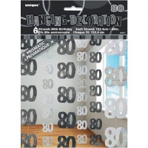 80th Birthday Hanging Decorations Glitz Black Silver 55371