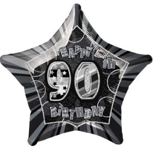 90th Birthday Star Shape Foil Balloon 50cm Glitz Black Silver 55392