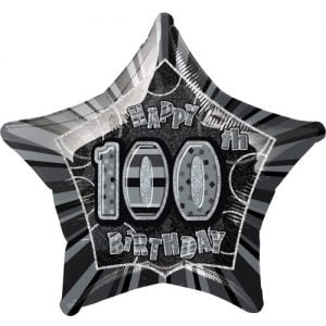100th Birthday Star Shape Foil Balloon 50cm Glitz Black Silver 55393