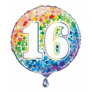 16th Birthday Rainbow Stars Foil Balloon 45cm 55780