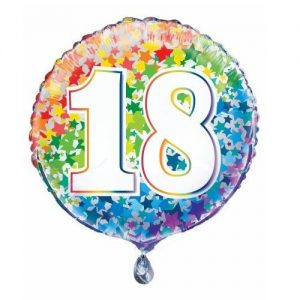 18th Birthday Rainbow Stars Foil Balloon 45cm 55781
