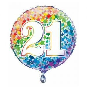 21st Birthday Rainbow Stars Foil Balloon 45cm 55782