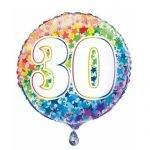 30th Birthday Rainbow Stars Foil Balloon 45cm 55783