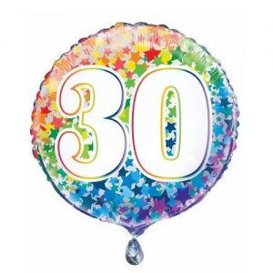 30th Birthday Rainbow Stars Foil Balloon 45cm 55783
