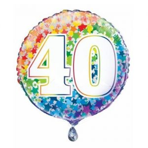 40th Birthday Rainbow Stars Foil Balloon 45cm 55784