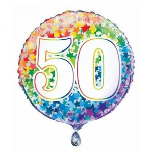 50th Birthday Rainbow Stars Foil Balloon 45cm 55785