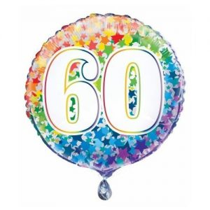 60th Birthday Rainbow Stars Foil Balloon 45cm 55786