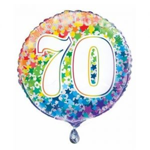 70th Birthday Rainbow Stars Foil Balloon 45cm 55787
