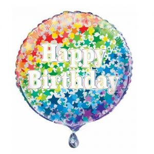Happy Birthday Rainbow Stars Foil Balloon 45cm 55789