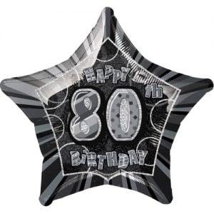 80th Birthday Star Shape Foil Balloon 50cm Glitz Black Silver 55935