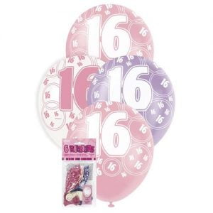 6pk 16th Birthday Latex Balloons Glitz Purple Pink White 80871
