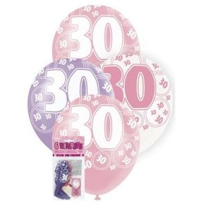 6pk 30th Birthday Latex Balloons Glitz Purple Pink White 80874