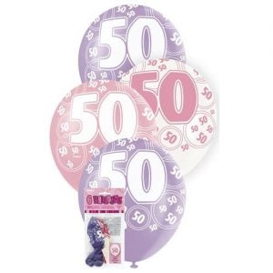 6pk 50th Birthday Latex Balloons Glitz Purple Pink White 80875
