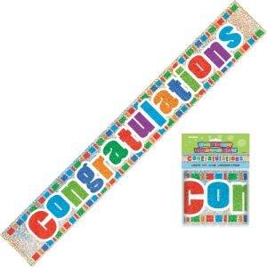Congratulations Congrats Prismatic Foil Banner 2.7m 10794