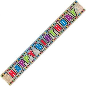 Happy Birthday Prismatic Foil Banner 3.6m 10865