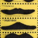 Black Fake Moustaches Mustaches Self-Adhesive Set 12pcs