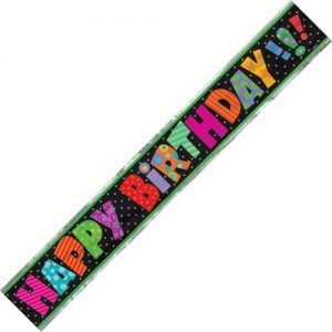 Happy Birthday Foil Banner Multi-Colour Dots 3.6m 23693
