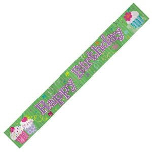 Happy Birthday Foil Banner 3.6m Cupcake Green Pink 40098