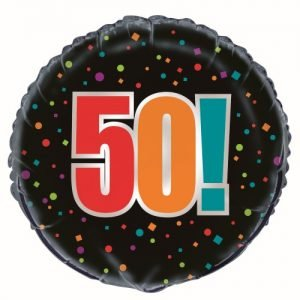 50th Birthday Cheer Black Foil Balloon 45cm 45825