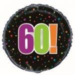 60th Birthday Cheer Black Foil Balloon 45cm 45826