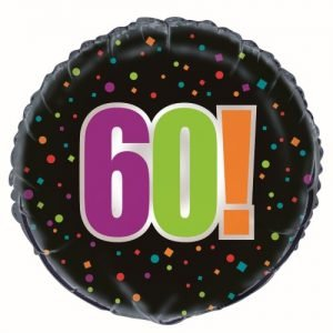 60th Birthday Cheer Black Foil Balloon 45cm 45826