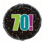 70th Birthday Cheer Black Foil Balloon 45cm 45827