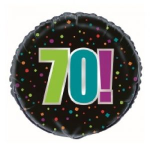 70th Birthday Cheer Black Foil Balloon 45cm 45827