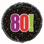 80th Birthday Cheer Black Foil Balloon 45cm 45828