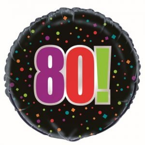 80th Birthday Cheer Black Foil Balloon 45cm 45828