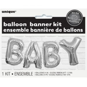 Letter Foil Balloons Banner Kit Baby Shower Unisex Silver 53676
