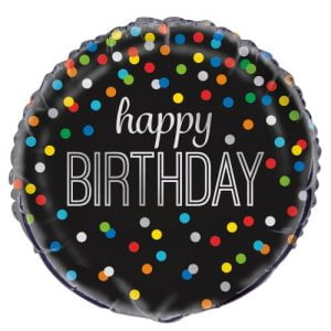 Happy Birthday Black Foil Balloon With Rainbow Dots 53964