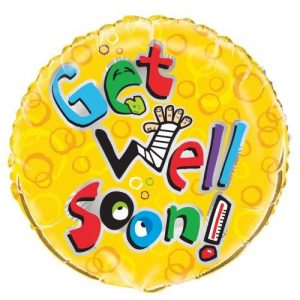 Get Well Soon Humour Yellow Foil Balloon 45cm 54446