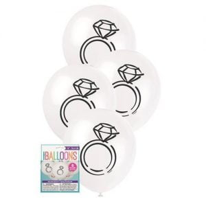 8pk White Diamond Rings Latex Balloons 30cm 54900
