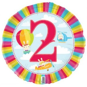 2nd Birthday Sky Cloud Planes Foil Balloon 45cm E2189