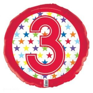 3rd Birthday Foil Balloon 45cm Red And Stars E2190