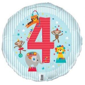 4th Birthday Jungle Safari Foil Balloon 45cm E2191