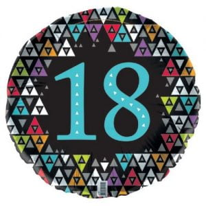 18th Birthday Black Foil Balloon 45cm E2195